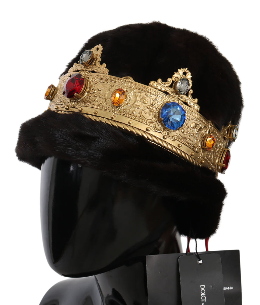 Load image into Gallery viewer, Brown Mink Fur Women Beanie Crystal Crown