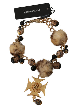 Load image into Gallery viewer, Gold Pon Pon Lapin Fur Crystal Cross Brass Necklace