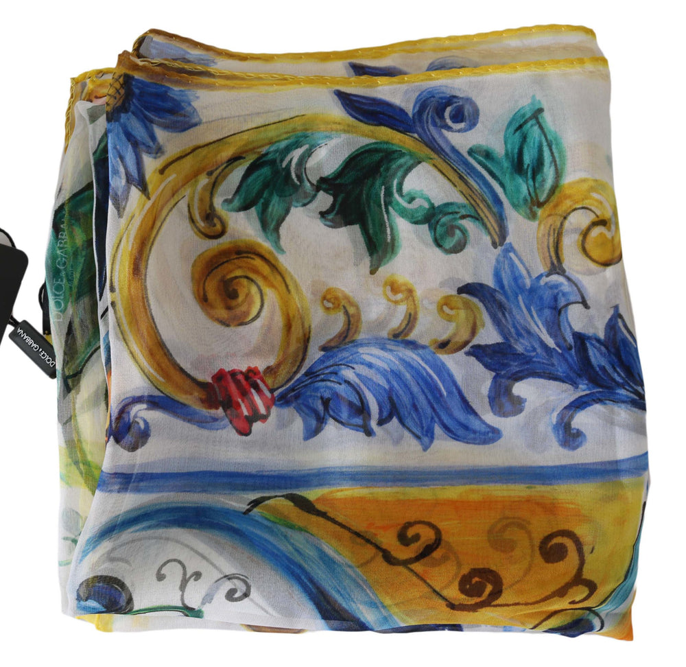 Load image into Gallery viewer, Majolica Floral Print Silk Wrap Shawl 85cm x 85cm  Scarf