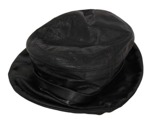 Load image into Gallery viewer, Black Goat Leather Bucket Cap Women Plain