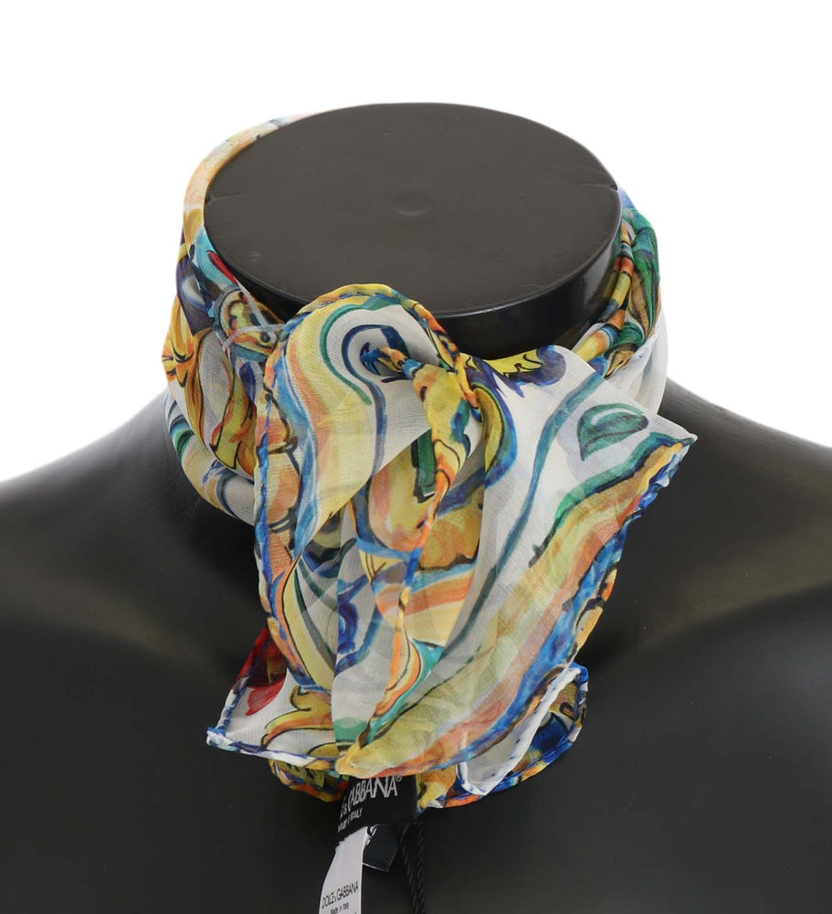 Load image into Gallery viewer, Majolica Print Silk Twill Wrap Shawl 50cm x 50cm Scarf
