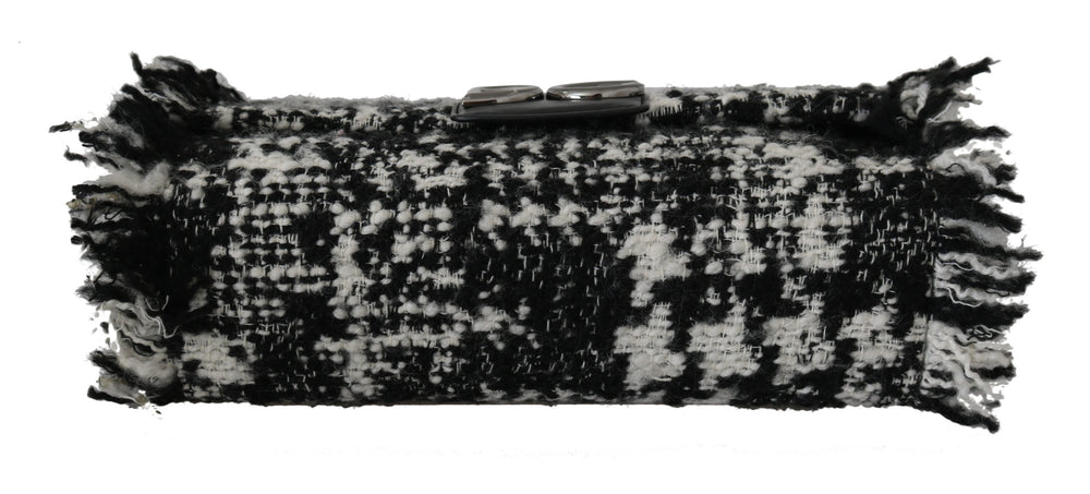 Load image into Gallery viewer, Black White Wool Leather Borse Millennials Purse