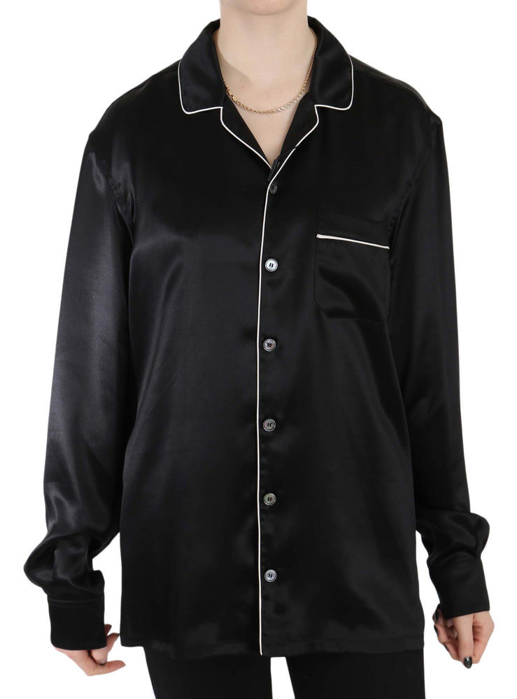 Black Trim Silk Pajama Top Shirt