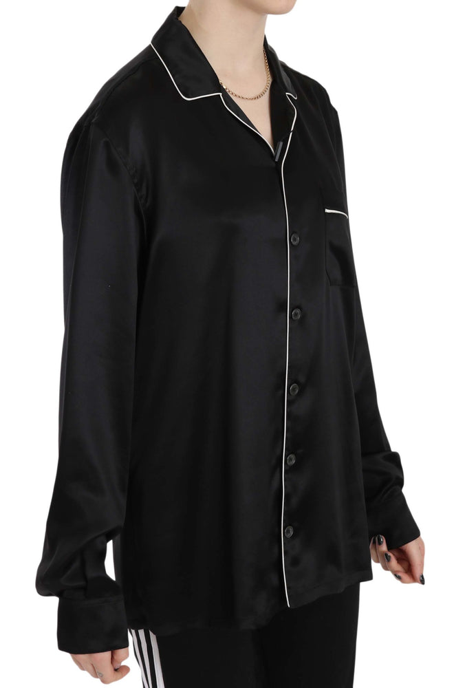 Load image into Gallery viewer, Black Trim Silk Pajama Top Shirt