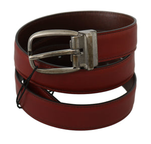 Load image into Gallery viewer, Bordeaux Red Leather Metal Buckle Belt