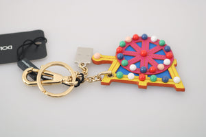 Load image into Gallery viewer, Leather Sicilian Cart Wheel Gold Logo Keychain