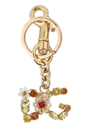 Load image into Gallery viewer, Gold Crystal Floral Brass Keyring DG Logo Keychain