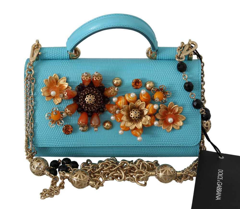 Load image into Gallery viewer, Blue Sicily Von Crystal Crossbody Leather Bag