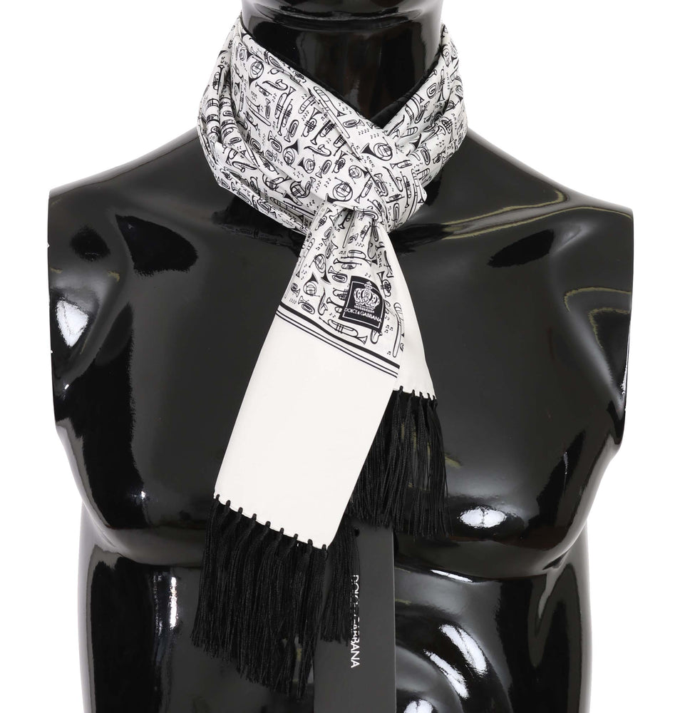 White Musical Instrument Print Silk Scarf