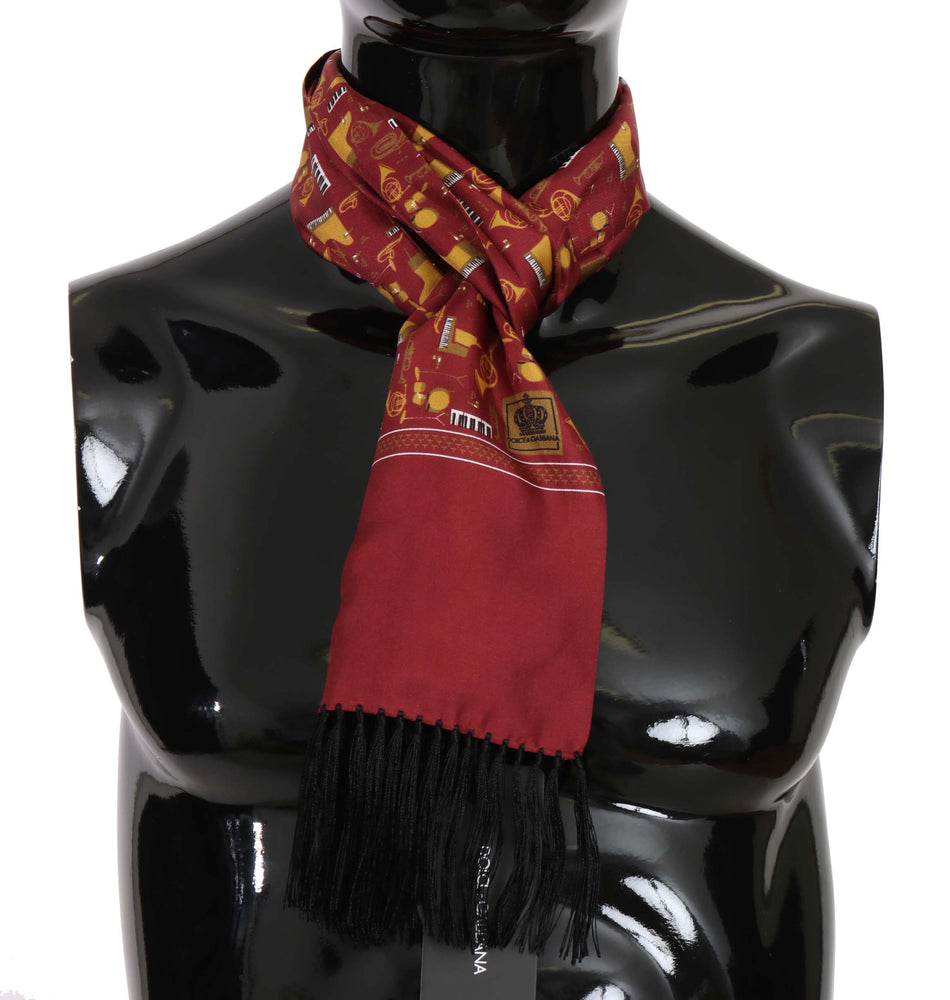 Maroon Musical Instrument Print Scarf