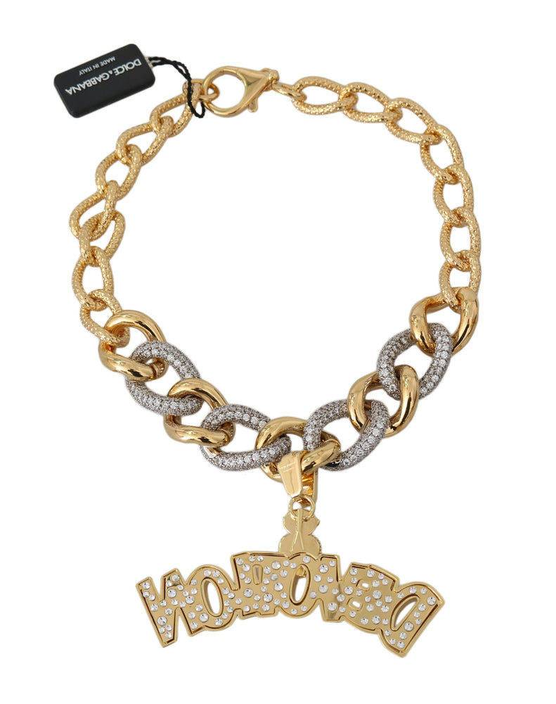 Load image into Gallery viewer, Gold Strass Crystal Chain Statement Necklace