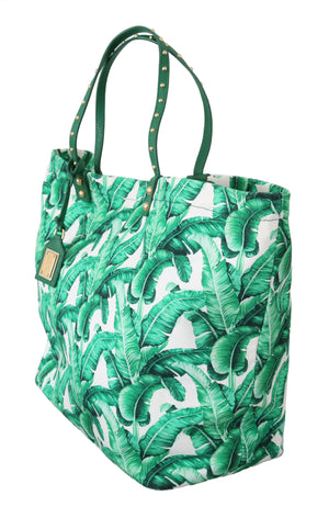 Load image into Gallery viewer, Green Banana Leaves BEATRICE Shopping Hand Tote Bag