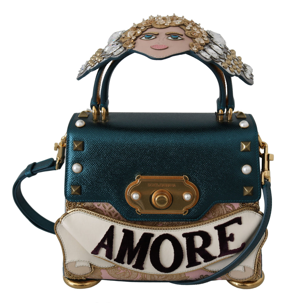 Blue Leather Angel Amore Crossbody WELCOME  Purse