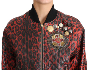 Load image into Gallery viewer, Red Leopard Button Crystal Leather Jacket