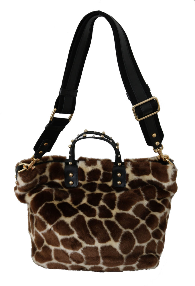 Load image into Gallery viewer, Brown Giraffe Print Shopping BEATRICE Purse Tote Bag
