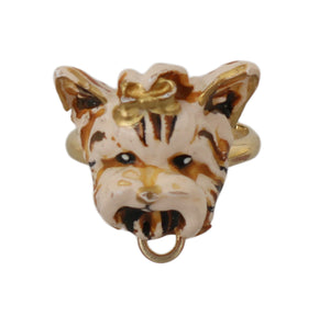 Load image into Gallery viewer, Gold Brass Resin Beige Dog Pet Branded Accessory Ring