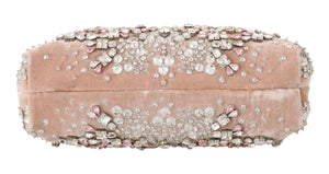 Load image into Gallery viewer, Pink Velvet Crystal Gold VANDA Clutch