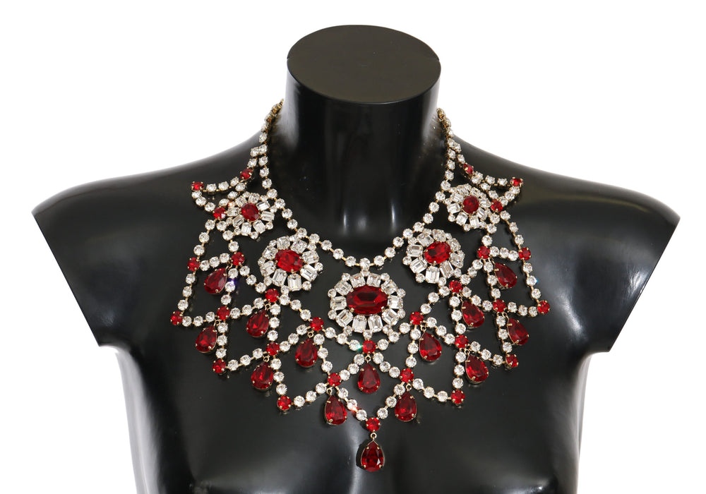 Filigree Clear Red Crystal Choker Collar Bib Necklace
