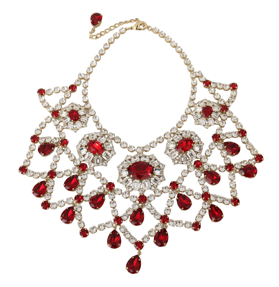 Load image into Gallery viewer, Filigree Clear Red Crystal Choker Collar Bib Necklace