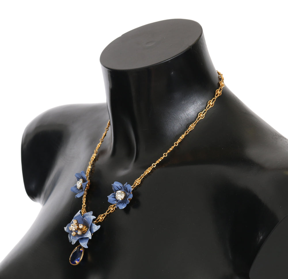 Load image into Gallery viewer, Gold Chain Blue Crystal Flower Statement Necklace