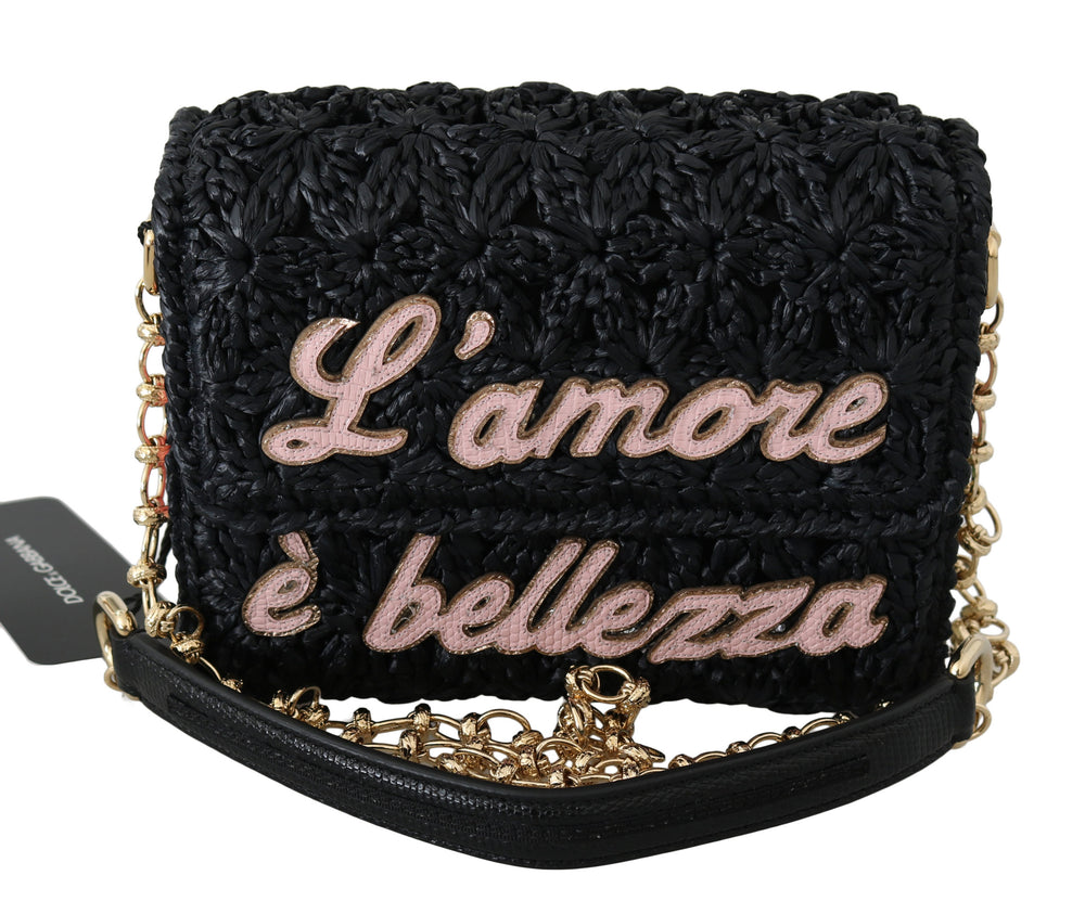 Black L'Amore E'Bellezza Raffia Millennials Purse