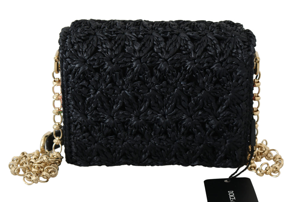 Load image into Gallery viewer, Black L'Amore E'Bellezza Raffia Millennials Purse