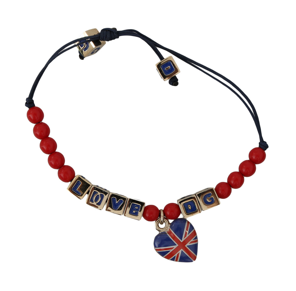 Load image into Gallery viewer, Blue and Red Beaded DG LOVES LONDON Flag Branded Bracelet