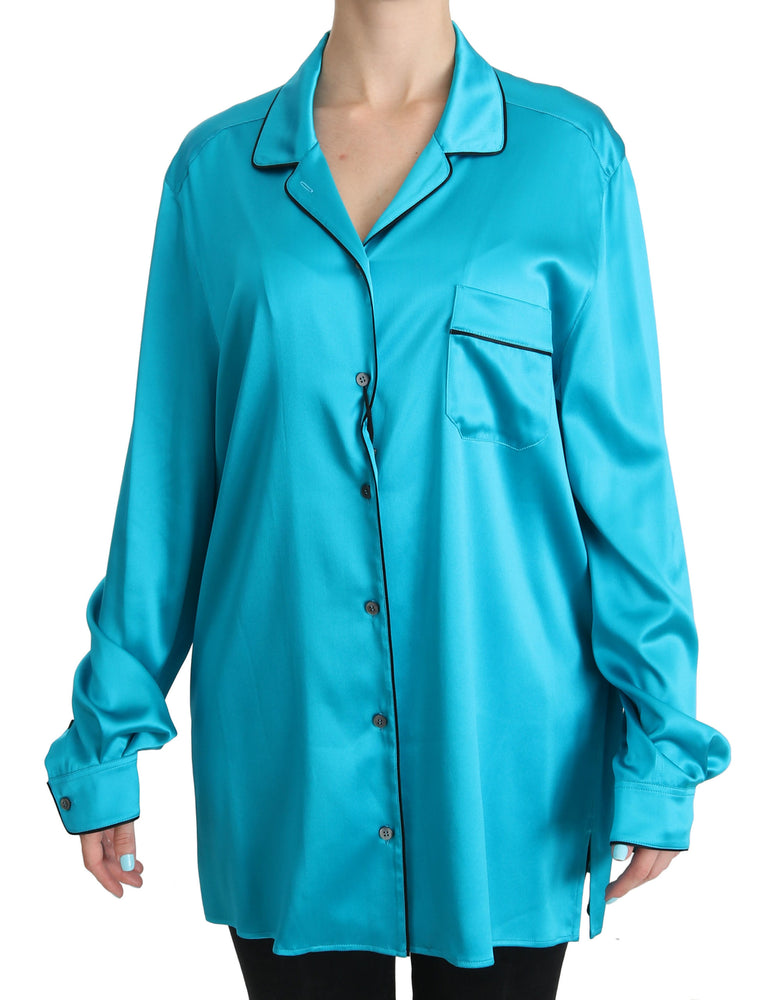 Blue Shirt Top Silk Stretch Pyjama Blouse