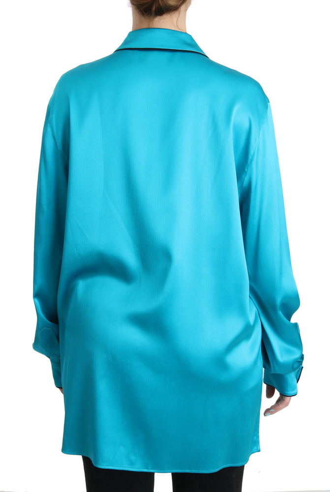 Load image into Gallery viewer, Blue Shirt Top Silk Stretch Pyjama Blouse