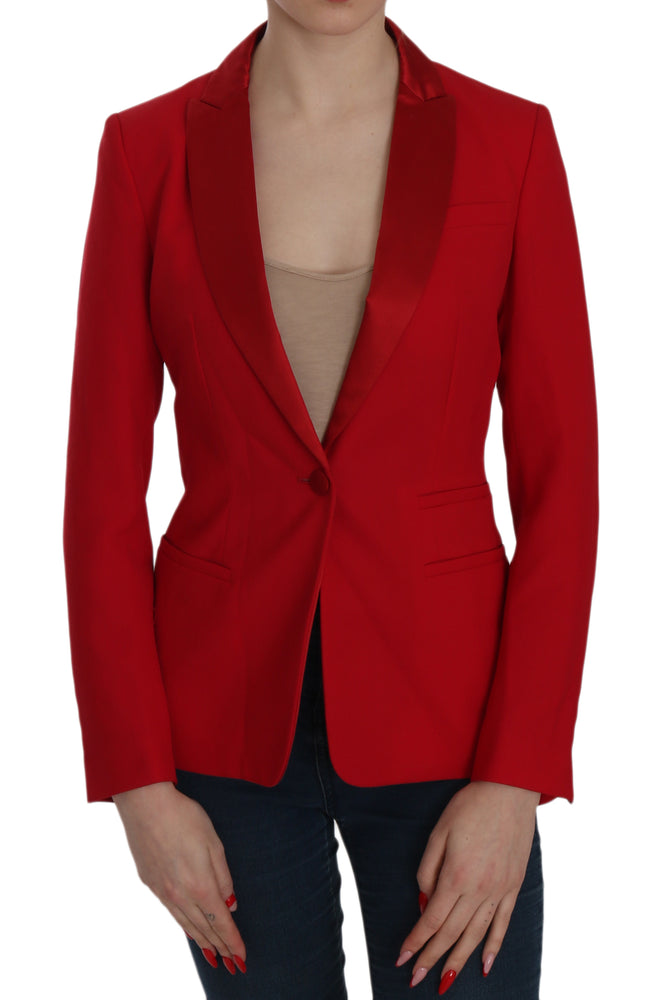 Red Single Breasted Long Sleeve Formal Jacket Blazer