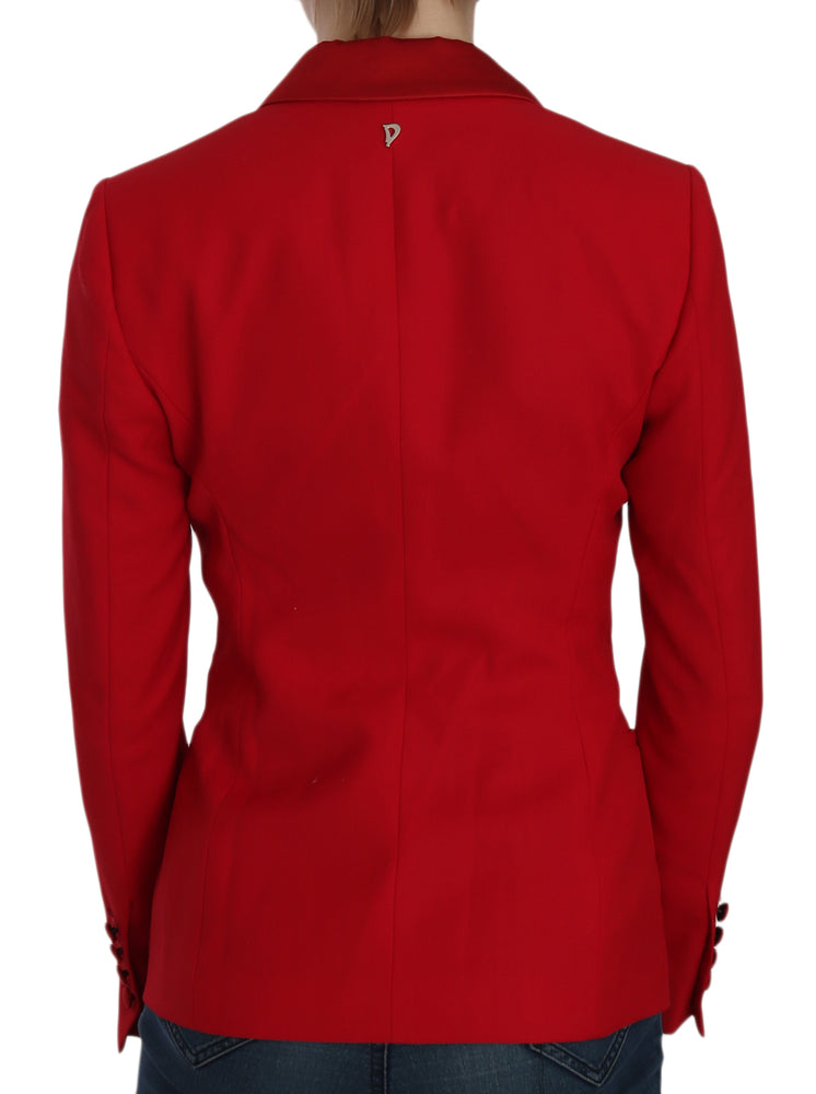 Load image into Gallery viewer, Red Single Breasted Long Sleeve Formal Jacket Blazer