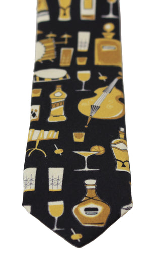Load image into Gallery viewer, Black Printed 100% Silk Classic Wide Necktie Tie