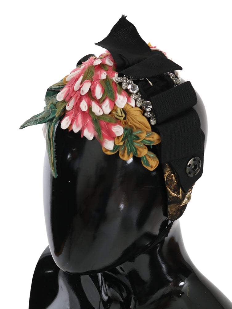 Load image into Gallery viewer, Multicolor Silk Floral Crystal Diadem Tiara Headband