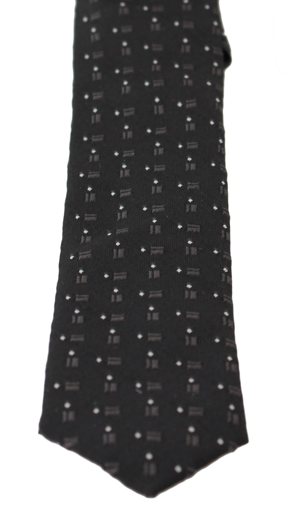 Load image into Gallery viewer, Black 100% Silk White Dotted Print Classic  Tie