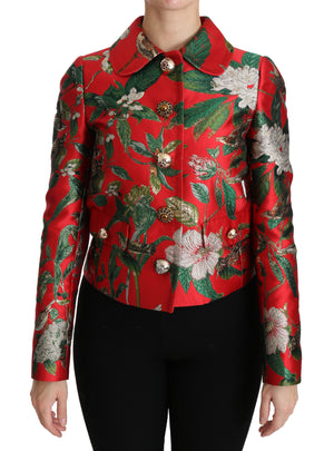 Load image into Gallery viewer, Red Floral Brocade Crystal Coat Jacket