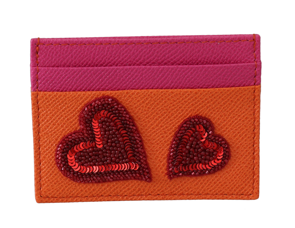 Orange Pink Leather Sequined Card Holder Wallet