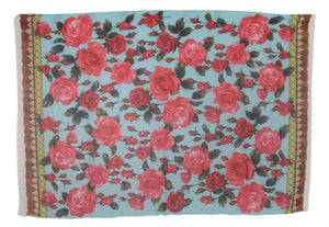 Load image into Gallery viewer, Blue Red Roses Cashmere Silk Wrap Scarf
