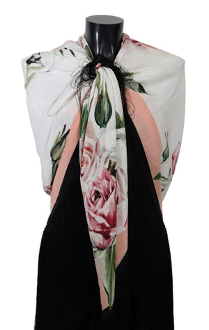 Load image into Gallery viewer, White Floral Print Wrap Shawl Silk Scarf