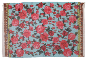 Load image into Gallery viewer, Pink Roses Cashmere Silk Wrap Shawl Scarf