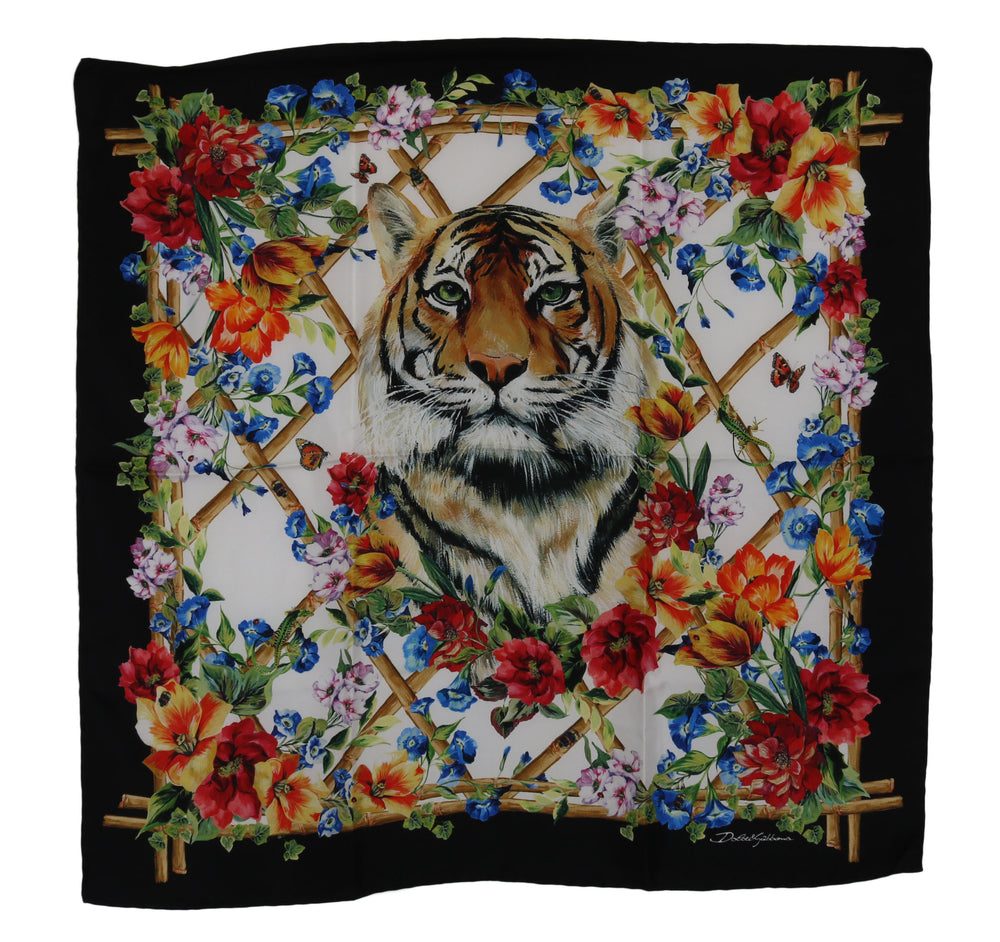 Load image into Gallery viewer, Multicolor Square Silk Tiger Floral Scarf
