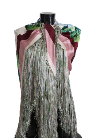 Load image into Gallery viewer, Hortensia Floral Silk Fringes Shawl Wrap Scarf