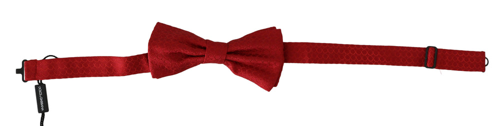 Red Pattern Silk Adjustable Neck Papillon Bow Tie