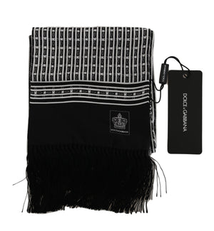 Load image into Gallery viewer, Black Baroque Fringes Mens Wrap 140cm x 15cm Scarf