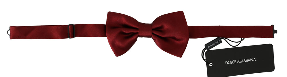 Men Red 100% Silk Adjustable Neck Butterfly Bow Tie