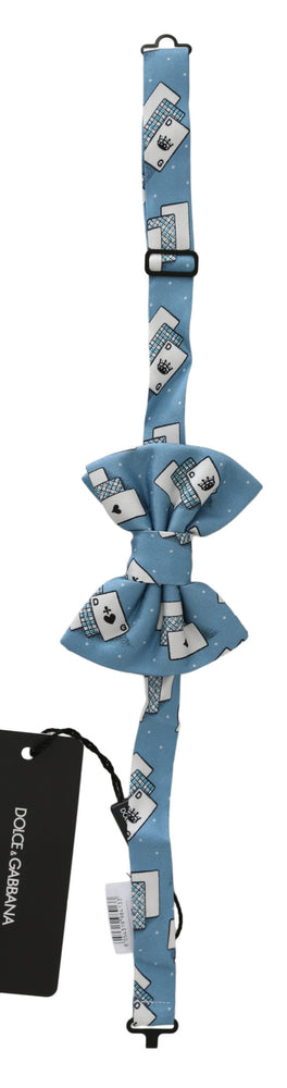 Load image into Gallery viewer, Light Blue Deck Of Cards Adjustable Neck Papillon Bow Tie