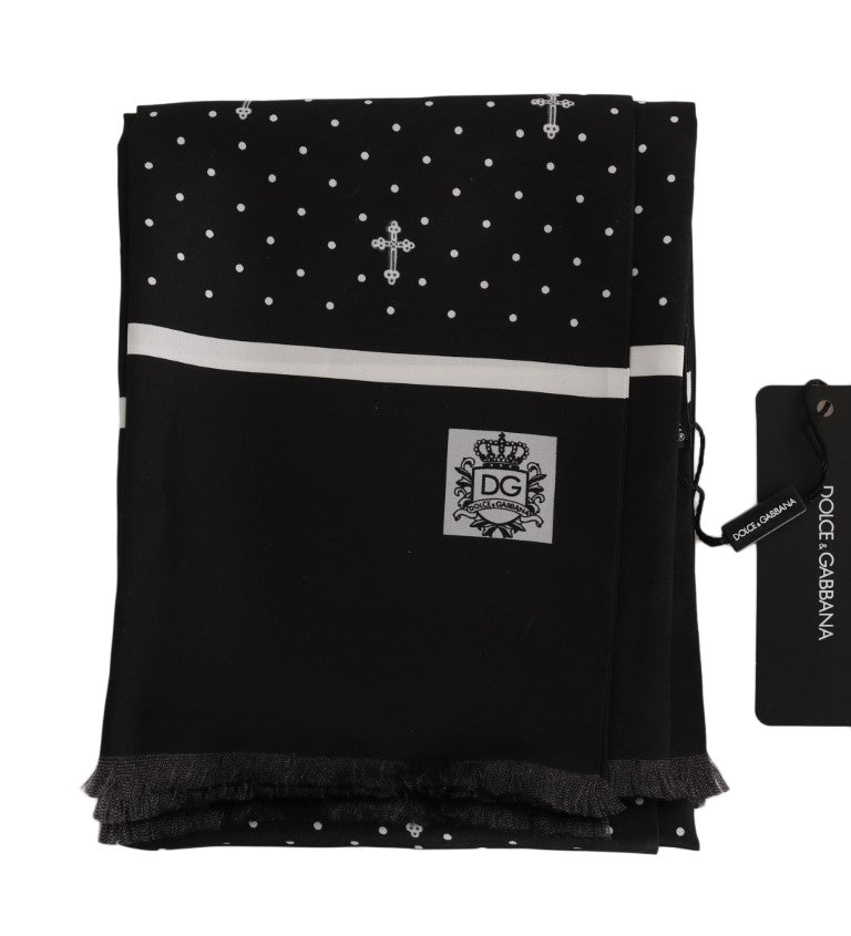Load image into Gallery viewer, Black Silk Cross Fringes Mens Wrap 180cm x 35cm  Scarf