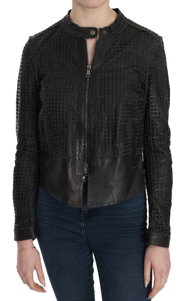 Black Leather Cutout Biker Jacket Coat