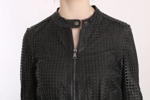 Load image into Gallery viewer, Black Leather Cutout Biker Jacket Coat