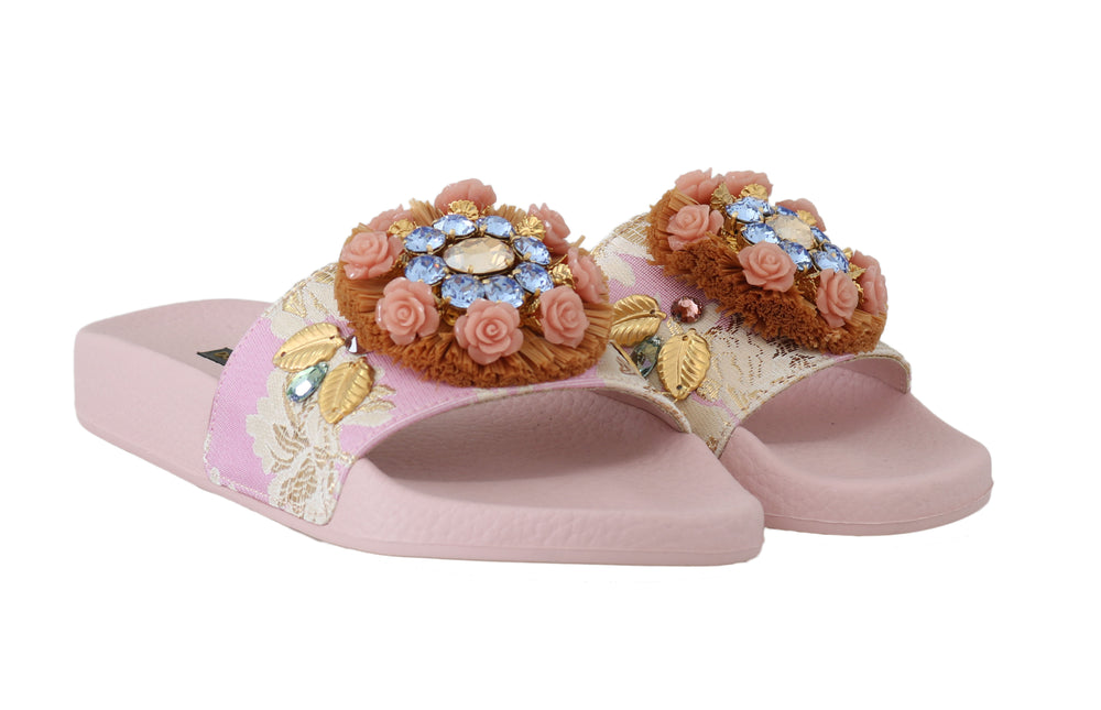 Load image into Gallery viewer, Pink Jacquard Crystal Flip Flops Flats