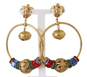 Load image into Gallery viewer, Gold Brass SFERE Crystal Clip On Dangling Earrings